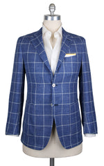 New $3900 Fiori Di Lusso Blue Linen Window Pane Sportcoat - 38/48 - (201803068)
