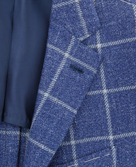 New $3900 Fiori Di Lusso Blue Linen Window Pane Sportcoat - (201803068) - Parent