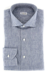 $600 Fiori Di Lusso Blue Melange Shirt - Slim - (FL-I-LP2EDOT) - Parent