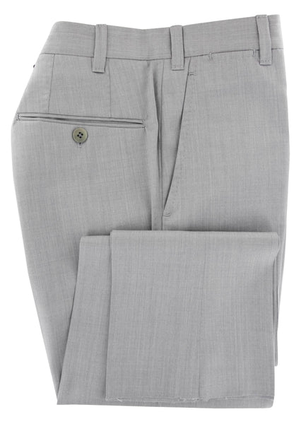 $600 Fiori Di Lusso Light Gray Solid Wool Pants - Extra Slim - (572) - Parent