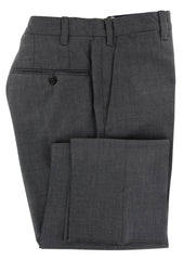 $600 Fiori Di Lusso Dark Gray Solid Wool Pants - Extra Slim - 28/44 - (577)