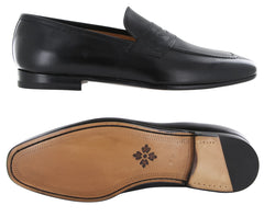 New $900 Fiori Di Lusso Black Leather Shoes - Loafers - (ROMABLK) - Parent