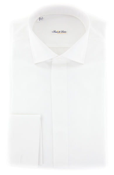 $600 Fiori Di Lusso White Tuxedo Shirt - Extra Slim - (FLTC1MFSX) - Parent