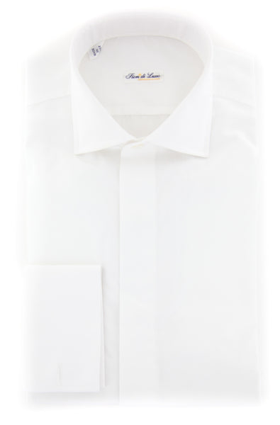 $600 Fiori Di Lusso White Solid Tuxedo Shirt - Slim - (FLTI376781MFS) - Parent
