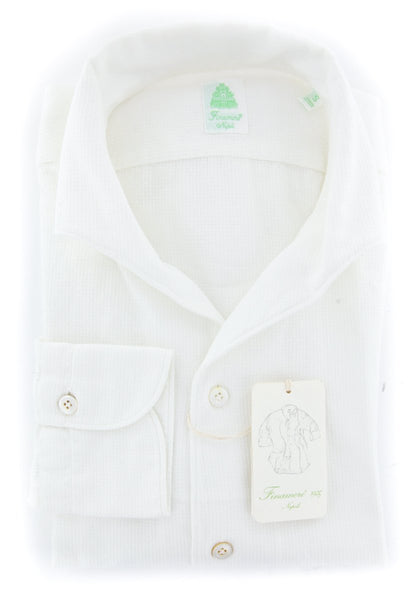 New $375 Finamore Napoli White Solid Shirt - Extra Slim - (2018032120) - Parent