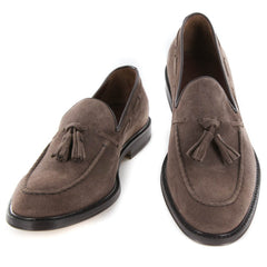 New $500 Finamore Napoli Brown Suede Shoes - Tassel Loafers - 7/6 - (5092DAINO)