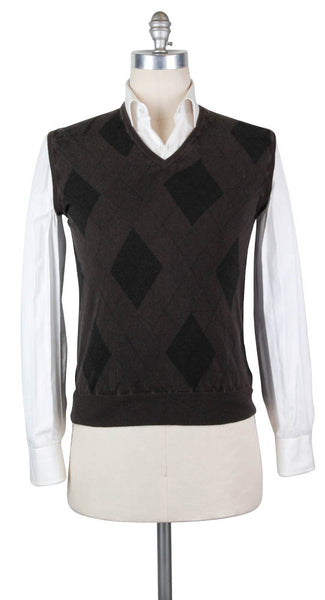 New $600 Finamore Napoli Brown Cashmere Sweater - XX Small/44 - (DOI592590)