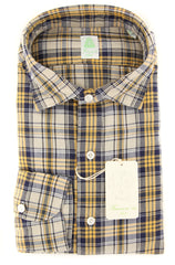 New $375 Finamore Napoli Yellow Plaid Shirt - Extra Slim - (FN830174) - Parent