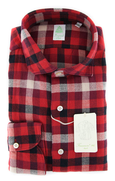 New $375 Finamore Napoli Red Check Shirt - Extra Slim - (FN830176) - Parent