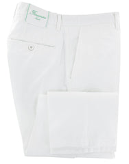 $300 Finamore Napoli White Solid Cotton Blend Pants - Slim - (415) - Parent