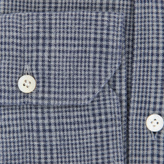 $375 Finamore Napoli Gray Plaid Flannel Shirt - Extra Slim - (OT) - Parent