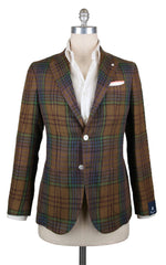 New $1125 Finamore Napoli Brown Linen Plaid Sportcoat - 40/50 - (GIA640006Q1R7)