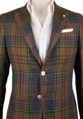 New $1125 Finamore Napoli Brown Linen Plaid Sportcoat - (GIA640006Q1R7) - Parent
