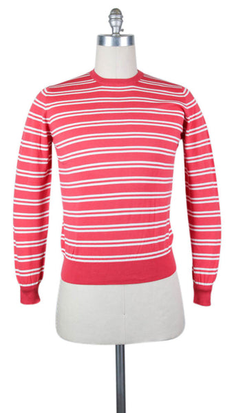 New $400 Finamore Napoli Pink Cotton Sweater - Large/52 - (22GIROCO22340)