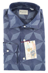 $425 Finamore Napoli Blue Fancy Cotton Shirt - Extra Slim - 15.75/40 - (PV)