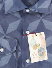 $425 Finamore Napoli Blue Fancy Cotton Shirt - Extra Slim - (PV) - Parent