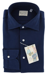 $425 Finamore Napoli Dark Blue Solid Cotton Shirt - Extra Slim - (X6) - Parent