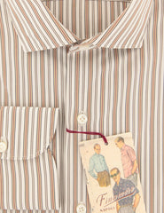 $425 Finamore Napoli Caramel Brown Striped Shirt - Extra Slim - (X4) - Parent