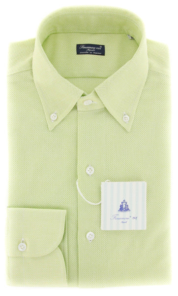 New $425 Finamore Napoli Green Solid Shirt - Slim - 15.75/40 - (24LAN01640820)