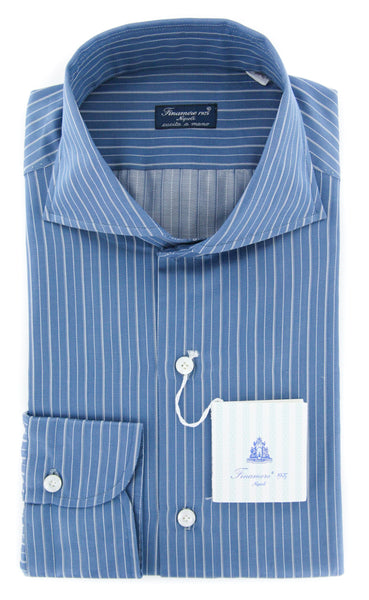 New $425 Finamore Napoli Blue Striped Shirt - Slim - 15.75/40 - (31LAN81018502)