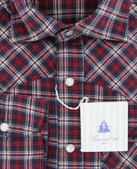 $375 Finamore Napoli Red Plaid Shirt - Slim - (LEN1174LUPZ) - Parent