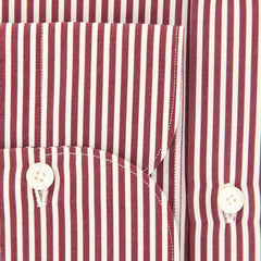 New $425 Finamore Napoli Burgundy Red Striped Shirt - Extra Slim - (2018022322) - Parent