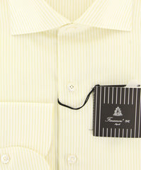 New $425 Finamore Napoli Light Green Striped Shirt - Extra Slim - (201803026) - Parent