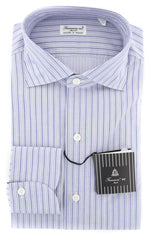 New $425 Finamore Napoli Navy Blue Striped Shirt -Extra Slim-15.5/39-(201802261)