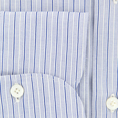 New $425 Finamore Napoli Navy Blue Striped Shirt - Extra Slim - (201802261) - Parent