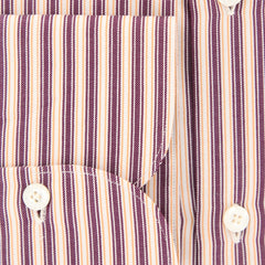 $425 Finamore Napoli Brown Striped Shirt - Extra Slim - (FN-MIL81005503) - Parent