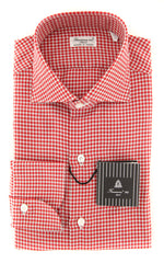 New $425 Finamore Napoli Red Micro-Check Shirt - Slim - (FN831171) - Parent