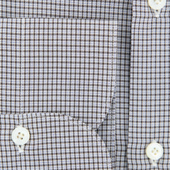 New $425 Finamore Napoli Brown Micro-Check Shirt - Slim - (FN818175) - Parent