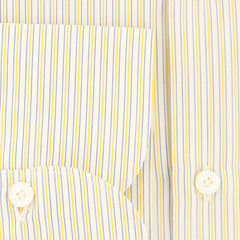 New $425 Finamore Napoli Yellow Striped Shirt - Extra Slim - (2018031612) - Parent