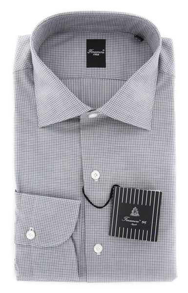 New $425 Finamore Napoli Gray Shirt - Extra Slim - 16.5/42 - (NAN01171504)
