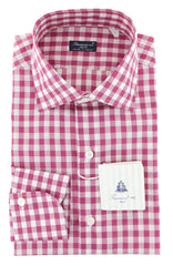 $600 Finamore Napoli Purple Check Cotton Shirt - Slim - (737)