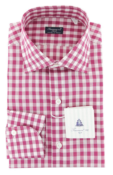 $600 Finamore Napoli Purple Check Cotton Shirt - Slim - (737) - Parent