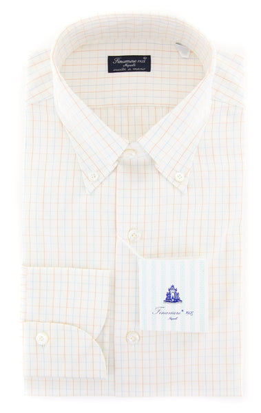 New $425 Finamore Napoli Off White Check Shirt - Slim - (201803146) - Parent
