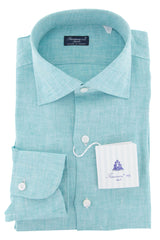 $600 Finamore Napoli Turquoise Solid Linen Shirt - Slim - 15.75/40 - (765)
