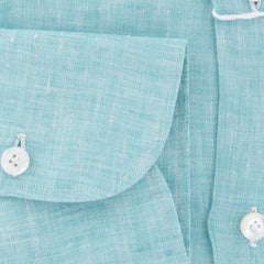 $600 Finamore Napoli Turquoise Solid Linen Shirt - Slim - (765) - Parent