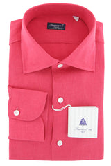 $600 Finamore Napoli Pink Striped Cotton Blend Shirt - Slim - 15.5/39 - (911)