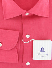 $600 Finamore Napoli Pink Striped Cotton Blend Shirt - Slim - (911) - Parent