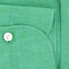 $600 Finamore Napoli Green Solid  Linen Shirt - Slim - (900) - Parent