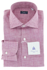 $600 Finamore Napoli Red Solid Linen Shirt - Slim - (766) - Parent