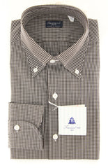 New $425 Finamore Napoli Dark Brown Check Shirt - Slim - (2018022843) - Parent