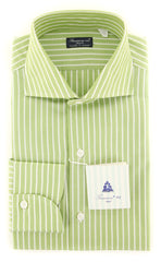 New $425 Finamore Napoli Light Green Striped Shirt - Slim - 15.5/39-(2018030125)