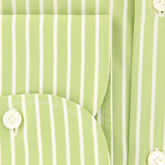 New $425 Finamore Napoli Light Green Striped Shirt - Slim - (2018030125) - Parent