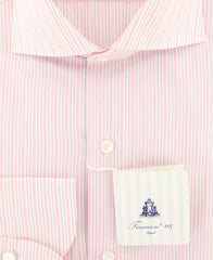 New $425 Finamore Napoli Pink Striped Shirt - Slim - (FN828174) - Parent