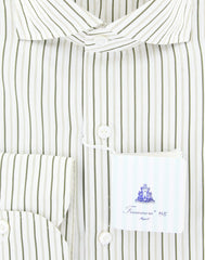 New $425 Finamore Napoli Olive Green Striped Shirt - Slim - (2018031511) - Parent