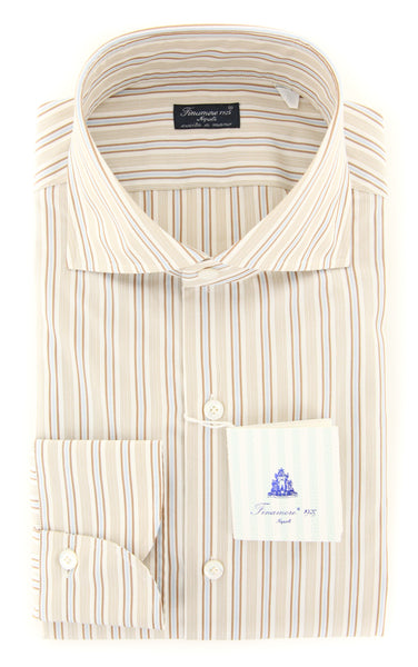 New $425 Finamore Napoli Brown Striped Shirt - Slim - (201803148) - Parent