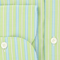 New $425 Finamore Napoli Light Green Striped Shirt - Slim - (2018030129) - Parent